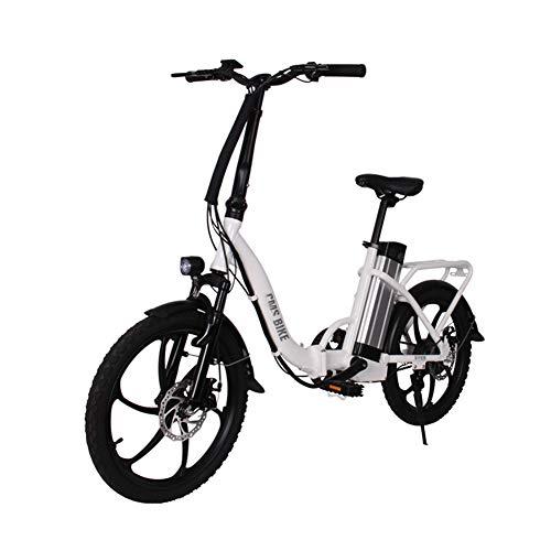 HWOEK Adulto Bicicletta Elettrica Pieghevole, Doppio Freno a Disco 20' Bici Elettrica da Città Trekking 36V Batteria al Litio Rimovibile 250W Motore Display LCD,Bianca