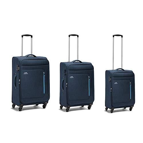 Ciak Roncato Set da 3 Trolley FOCUS di 3 misure (L+M+S), Bagaglio Grande, Medio e Bagaglio a Mano, Colore Blu Navy