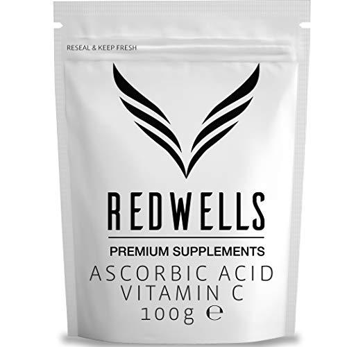 REDWELLS 100g Pure Ascorbic Acid Powder (Vitamin C) Pharmaceutical Quality