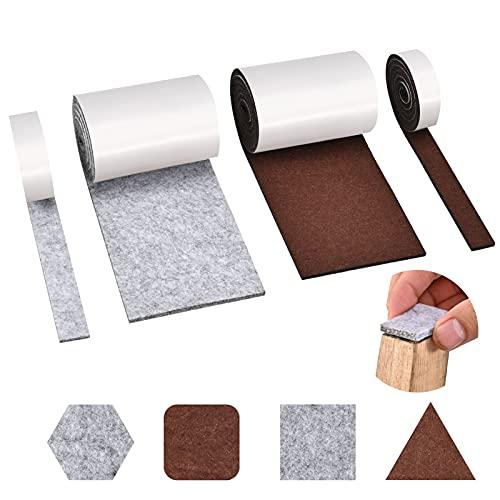 Almohadillas de fieltro autoadhesivas, 4 rollos para muebles, 2 100 cm x 10 + cm, corte cualquier forma, cinta adhesiva fuerte sillas, protección del suelo.