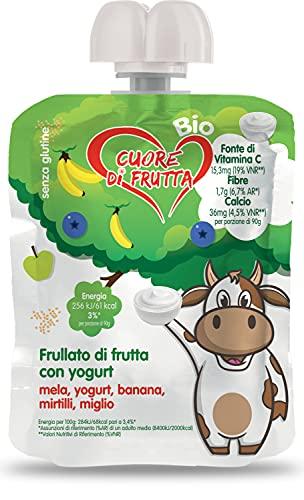 Cuore Di Frutta Frullato di Frutta Bio, Mela, Yogurt, Banana, Mirtilli e Miglio - Confezioni da 90G,...
