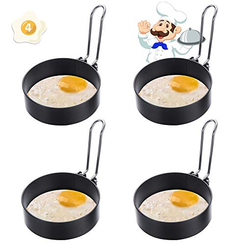 Non-Stick Egg Rings, ARPDJK 4pcs Stainless Steel Fried Egg Rings, Round Metal Mould Set for Fried, Pancake and Poached Eggs Crumpets, Suitable for Frying Pan, Muffin Maker