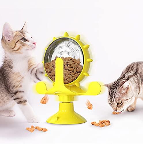 LALFPET divertente gatto che perde, Giocattolo interattivo per gatti,giocattolo rotante per la distribuzione di snack per animali domestici con una potente ventosa e una campana