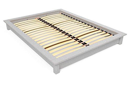 ABC MEUBLES – Lit futon Solide en Bois – 2 Places – Solide – Gris Aluminium, 160 x 200