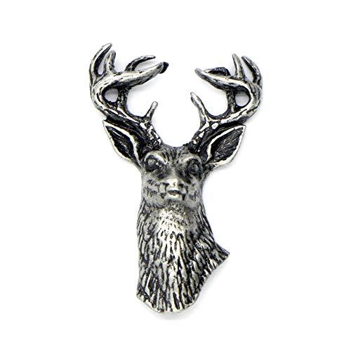 CamelRedBox Broche de solapa con cabeza de ciervo, accesorio para los amantes de la caza y la pesca de animales