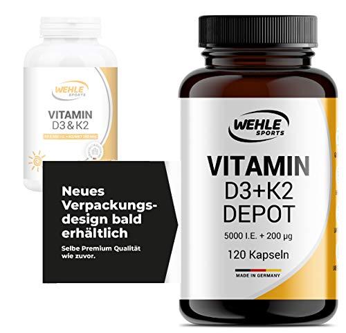 Vitamin D3 K2 Kapseln 120 Stück - Hochdosiert mit 5000 IE Vitamin D3 und 200 µg Vitamin K2 MK7 Depot pro EINER Tablette - Vitamin Tabletten ohne Zusätze, Hergestellt in Deutschland
