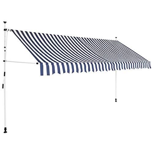 Tidyard Luifel Handmatig Uitschuifbaar Outdoor Opklapbare Luifel Tuin Gazebo Luifel Zonnescherm 350 cm Blauw en Witte Strepen