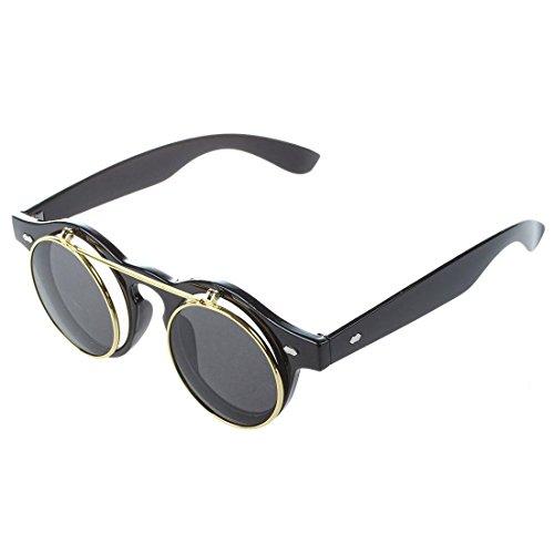 TOOGOO: gafas de sol redondas unisex, diseño steampunk gótico, retro, con lentes flip up Marrón marrón