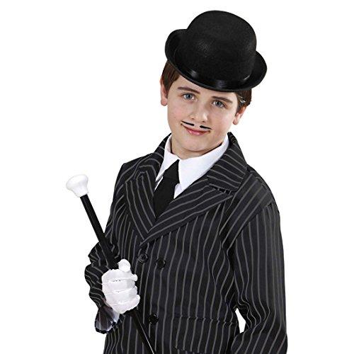 NET TOYS Bowler schwarz Melone Hut Kinder Chaplin Filzhut Gangster Kinderhut Mafia Kopfbedeckung 20er Jahre Accessoire Karneval Kostüm Zubehör
