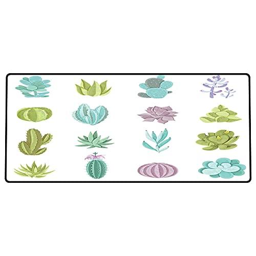 Alfombrilla de ratón para Juegos 600 x 300x3 mm,Exóticas, Varias Plantas Tropicales de Saguaro Barbary Fig Prickly Pear Peyote, Pistacho Verde Li Base de Goma Antideslizante, Adecuada para Jugadores