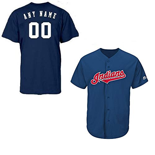 Majestic Athletic Adult Medium Cleveland Indians Customized Major League Baseball Cool-Base Replica MLB Jersey Navy Blue