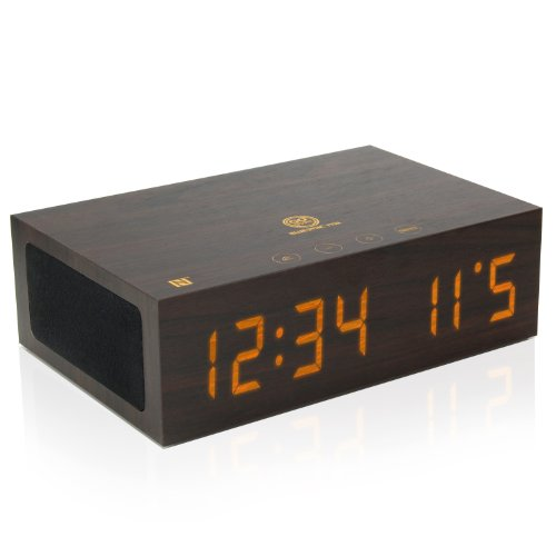 GOgroove TYM Bluetooth Digital Alarm Clock Speaker - Wood Alarm Clock w/ Built in Microphone, LED Time & Date Display, Paired Streaming or AUX for Phones, MP3 Players, Tablets (Dark Stain with NFC)