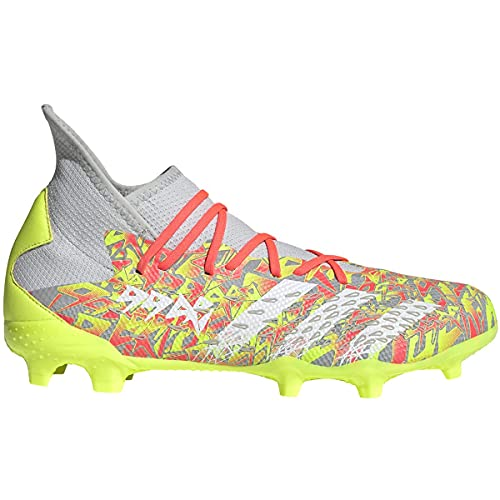 adidas Freak .3 FG Soccer Shoe, 12.0 M, Clear Grey/FTWR White/Solar Yellow