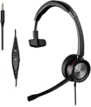 Sinseng Mono 3.5mm Cell Phone Headset, Corded Headphones with Microphone Noise Canceling for Laptop, PC headsets for iPhone Samsung Galaxy Huawei LG BlackBerry HTC iPad Tablets Podcast Skype