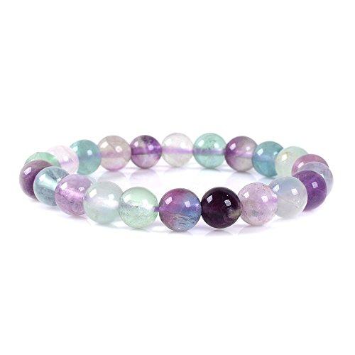 Justinstones Natural Multicolor Fluorite Gemstone 8mm Round Beads Stretch Bracelet 7 Inch Unisex