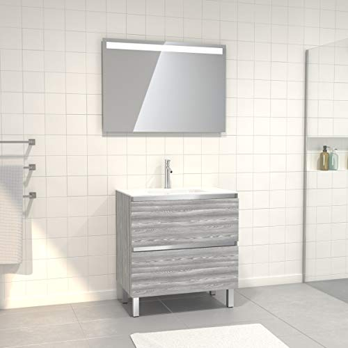 Pack mueble de baño con lavabo de cristal blanco y espejo LED, 80 x 60 cm, 2 cajones, roble gris/blanco