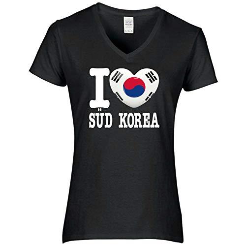 FanShirts4u Damen T-Shirt - I Love SÜD Korea - WM Trikot Liebe Herz Heart (S, SÜD Korea/schwarz)