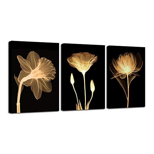 WEINICHIKUANG 3 Teiliges Set Holzrahmen Leinwandbilder Kunstdrucke Painting, Modern Design Wandbild Für Wohnzimmer Home Dekorationen, Schöne Virtuelle Schattenblütenblume, 40X80cmX3