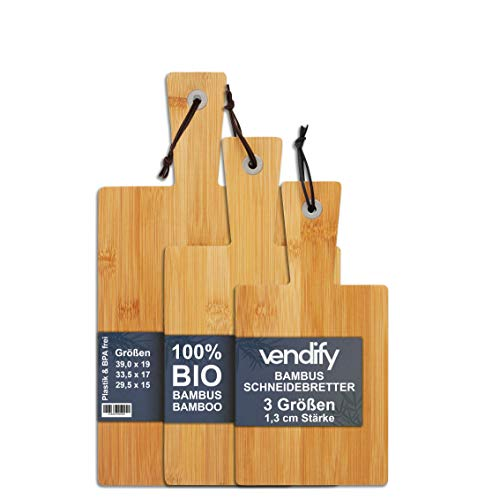 Premium Schneidebrett Bambus hochwertig 3er Set - 3 Größen - 39 x 19 x 1,3 cm Hackbrett Brotbrett Küchenbrett, antiseptisches Holzbrett mit Griff Aufhängen, Fleisch, Gemüse, Fisch, Obst