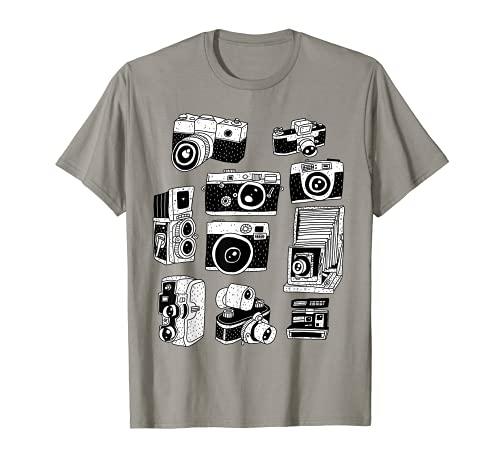 Modelos de cámaras antiguas y cámaras vintage para fotógrafos. Camiseta