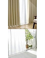 アイリスプラザ すぐ使える4枚セット(レースカーテン付) 遮光1級 断熱 保温 洗濯機対応 幅100cm×丈200cm ベージュ
