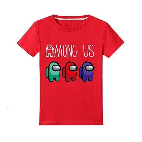 Camiseta Divertida para niños Among Us Gaming Impostor Character Niño Niña Camiseta Viral Gamer Top 5-13 años (Rojo, 5-6 años)