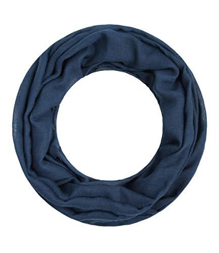 Majea Loop Alice schmaler Damen-Schal Loop Frühlingsschal Schlauchschal Rundschal Tuch uni unisex unifarben einfarbig Halstuch, Navy, 160x52