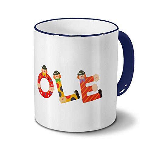 printplanet Tasse mit Namen Ole - Motiv Holzbuchstaben - Namenstasse, Kaffeebecher, Mug, Becher, Kaffeetasse - Farbe Blau