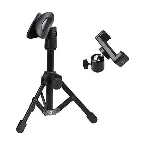 AUFER Mini soporte ajustable plegable para micrófono de escritorio con clip para micrófono y clip para teléfono móvil