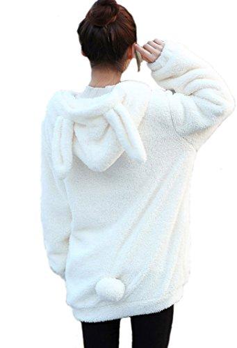 Doble Terciopelo Invierno Divertido Suave Felpa suéter Oso o Conejo Forma de Oreja Abrigo de Felpa con Precioso Conejito con Capucha Sudaderas con Capucha para Las Mujeres (White Rabbit)