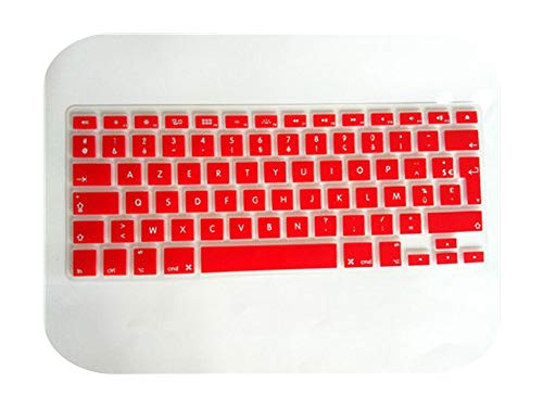 Silicone Soft Color French Uk/Eu Azerty Keyboard Clavier Cover Skin For Mac Book Pro Macbook Air 13' 15' 17' Air 13 before 2018-red-