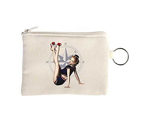 Sailor Compass Pin Up Girl Retro Navy Art Petit Porte-Monnaie Portefeuille avec Porte-clés Beige One Size