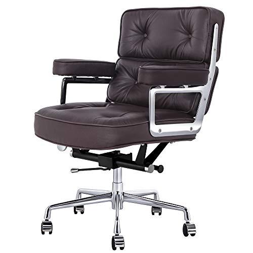 Leder Bürostühle Chefsessel, Schreibtischstuhl mit Armlehne, Ergonomischer Computerstuhl mit Mittlere Rückenlehne, Sitzhöhenverstellung, Neigungsfunktion, Polsterung für Konferenzraum (Dunkelbraun)
