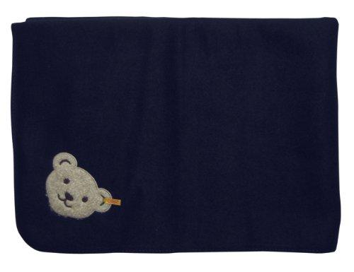 Steiff Decke Babydecke Fleecedecke New Born 90 x 60 cm mit Bärenapplikation marine blau