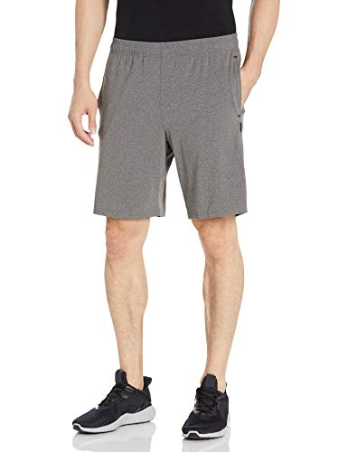 Jockey Men's Reflective Detail Peached Jersey Short, Charcoal Heather, Medium