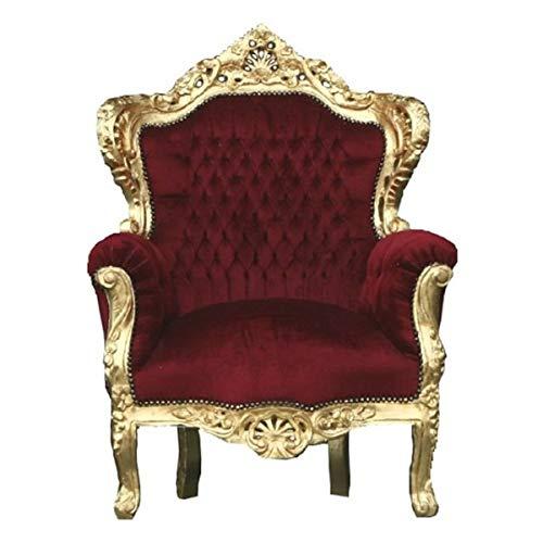 Casa Padrino Barock Sessel 'King' Bordeaux/Gold Thron Stuhl