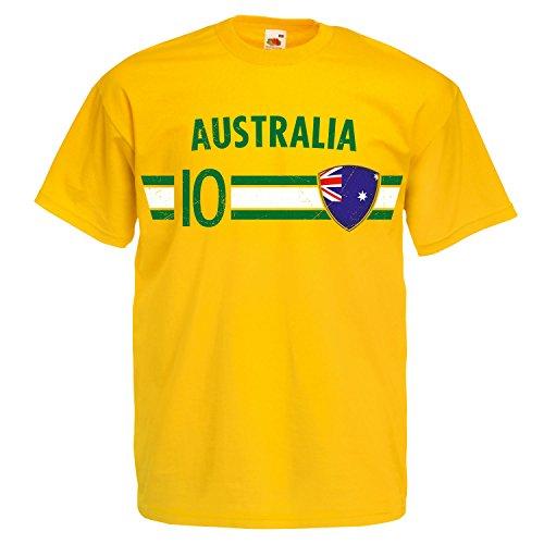 Fußball WM T-Shirt Fan Artikel Nummer 10 - Weltmeisterschaft 2018 - Länder Trikot Jersey Herren Damen Kinder Australien Australia XL
