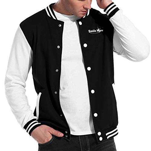 KUNPENG Men's Smile More 1-1 Baseball Uniform Jacket Sweatshirt Sport Coat Baseball Jacket Uniform Varsity Premium Jacket Overcoat M Black