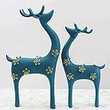 ahjs457 Estatua Resina Plata Pareja Sika Deer Estatua...
