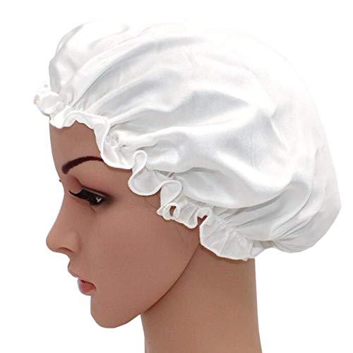 WJH Sleeping Naturel Soie de mûrier Bonnet de Nuit Bonnet Chapeau Head Couverture pour Beauty Hair avec Bande élastique pour Cheveux Perte de Sommeil Protection des Cheveux (2 pièces),Blanc