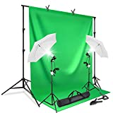 LimoStudio, AGG412, Photography Continuous Umbrella Studio Lighting Kit with 10 ft. Backdrop Stand and 6 x 9 ft. Green Background Screen, Carry Bag