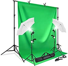 LimoStudio, Photography Continuous Umbrella Studio Lighting Kit with 10 ft. Backdrop Stand and 6 x 9 ft. Green Background Screen, Carry Bag, AGG412