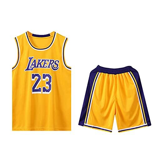 HAZYJT Traje de Baloncesto de Jersey - L.A. Lakers - # 23 Lebron James Sudadera y Pantalones sin Mangas Transpirables, Trajes para Hombres y Mujeres