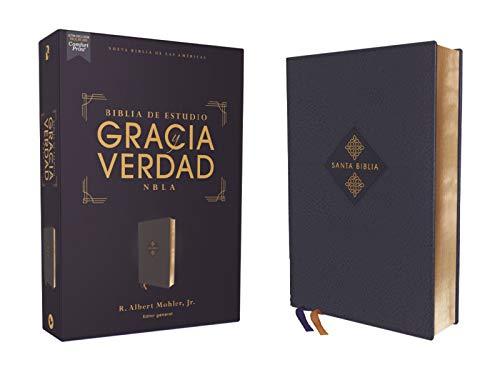 NBLA Biblia de Estudio Gracia y Verdad, Leathesoft, Azul Marino, Interior a dos colores (Spanish Edition)