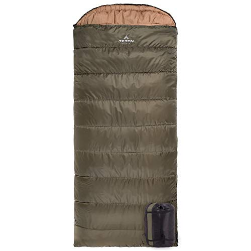 TETON Sports Celsius XXL Sleeping Bag; Great for Family Camping; Free Compression Sack, Olive Green