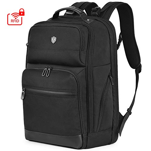 SHIELDON Travel Laptop Backpack 15.6 Inch, Business Computer Backpack Anti-theft Backpack with RFID Blocking Pocket, College Daypack Water Repellent School Laptop Bag for Men/Women, 28L, Black