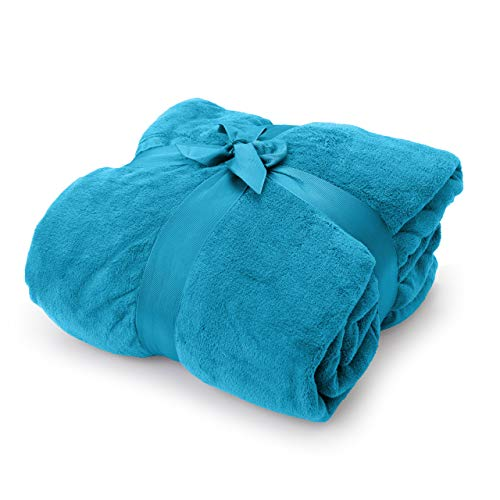 Lumaland TV Kuscheldecke mit Ärmeln aus weichem Coral Fleece mit Handytasche 150 x 180 + 35 cm Fußtasche himmelblau