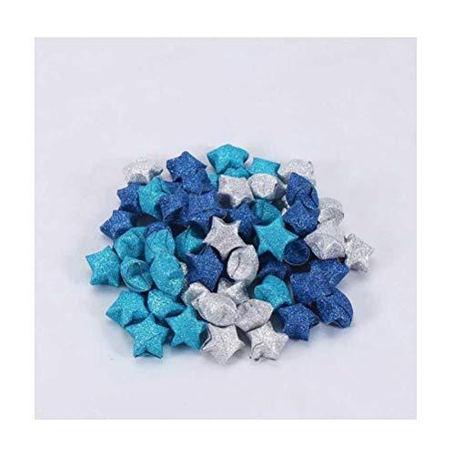 Handgemachte bunte Glücksstern Origami, Kinder falten kleine Sterne und fünfzackige Sterne, wünschen Flasche blinkenden Diamant fertig diy-365 blaue Sterne mit Farbverlauf