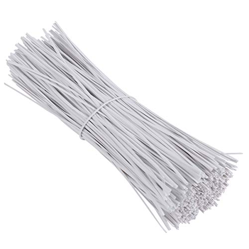 Yardwe 500PCS 6 Inch Plastic Coated Twist Tie for Plants Grape Vine Trellis Wire Ties White Twist Ties for Bread Candy Bags Cable Tie Organizer (White)
