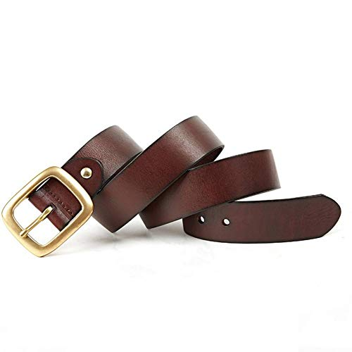 Wojiade Cintura in pelle con fibbia in rame Cintura da uomo con cintura all-match,caffè,125cm